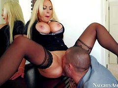 Nikki Benz is his wife's smoking hot friend. Blonde with