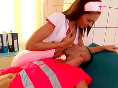 Rescue team guy gets a blowjob from cute and slim brunette nurse