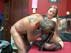 Axel from Denmark pays ugly blond whore to eat her wet cunt in the brothel