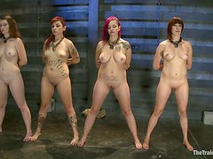 Kinky BDSM Orgy with Submissive Girls Orgasming to Sybians