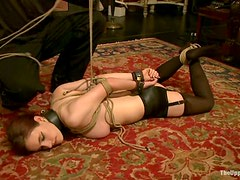 Iona Grace gets tied up and suspended by some kinky dude