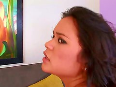 Young hot ass brunette Bliss Lei with nice natural boobs seduces her tall handsome neighbor