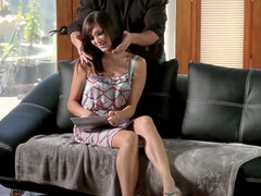 Foreplay ends up with cunnilingus for brunette babe Holly Michaels