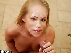 1000Facials Brittany gets a surprise when a dude cums!