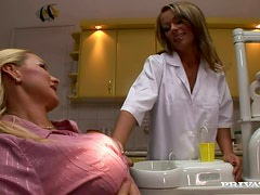 Threesome with Two Hot Busty Blondes in the Dentist's