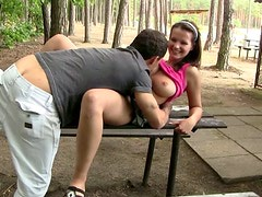 Pretty girlie Rita seduces a dude on the beach and gives a solid blowjob for sperm
