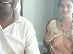 Amateur Indian horny and ugly chick shows her droopy tits on webcam