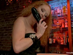 Double Penetration Threesome in the Bar for Redhead Audrey Hollander