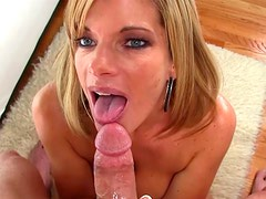 Blonde gets facial by this big dick in the bed