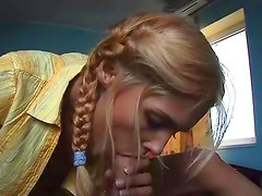 Braided blonde mounts a meaty rocket