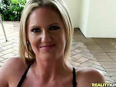Blonde with big breasts and her hard cocked fuck
