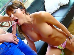 Smoking hot heavy chested brunette bombshell Franceska Jaimes with jaw dropping gazongas and round firm