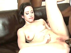 Sexy brunette gets her ass pound and her wet pussy