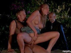 Horny wife cheats with husband watching