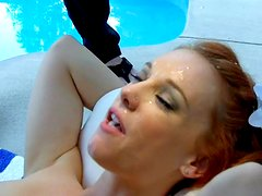 Redhead babe with small tits was fucked in her puss
