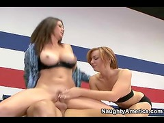 Teen Dani Jensen shares cock with Raquel Devine