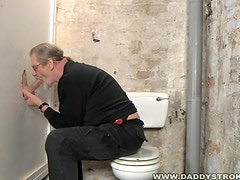 Fat Silverdaddy Working His Tongue Magic At The Gloryhole