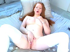 Busty Lucy Ohara gives awesome solo