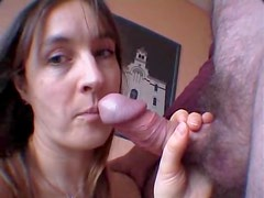 Busty wife sucks cock for a facial