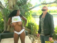 Big tittied ebony girl gets fucked by White dude outdoors