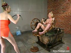 Blonde bitch Crystal Frost gets tied up and drowned in a bowl