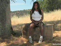 Interracial MMF BDSM Outdoors Threesome with Ebony Dominated Babe