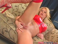 Brook is sucking a dildo with a huge cock in her muff