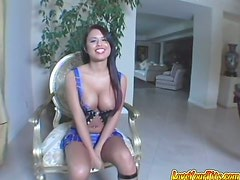 Juicy Eva Angelina spreads her legs and gets it in both of her holes