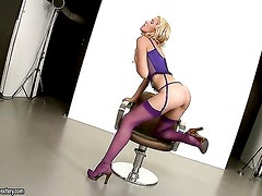 Blonde Sophie Moone touches her vagina playfully