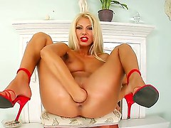 Turned on naked blonde bitch Clara G with big tits and round firm ass in high