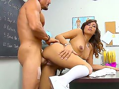 Teen chick Alliyah Sky pleased her naughty teacher dude with hot blowjob