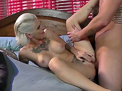 Good looking young stud Clover with stiff meaty cock gets seduced by short haired whorish