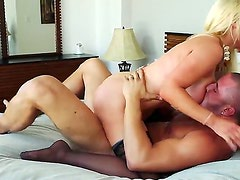 Cock loving skilful and experienced blonde milf Nikki Benz with gigantic fake tits and huge