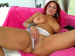 Tempting redhead sexy bombshell Helen Cielo with big juicy gazongas and french manicure in white