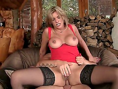 Blonde MILF gets her ass pounded by a huge