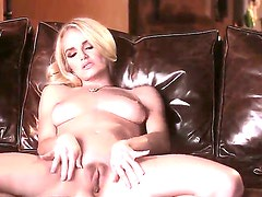 Hot blonde Ashley spends her alone time fingering her