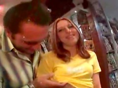 Spoiled brunette milf Ariana Jollee gets picked up at parking lot by horny dude