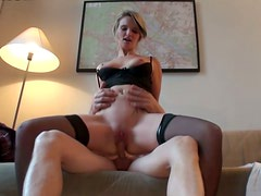 Appetizing slut in stockings enjoys missionary style fuck