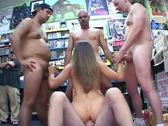 Pretty curvy brunette whore Jane gets her wet pussy fucked in standing position