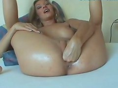Amazing emotional blond head spreads legs wide to be fingerfucked and fisted