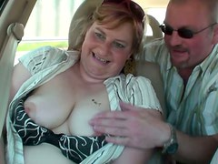 Chubby slut enjoys fingering in the car and outdoor