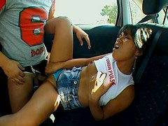 Naughty Asian girl gets fucked hard right in the car