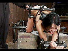 Asian Tia Ling getting anal fucking from machine in bondage video