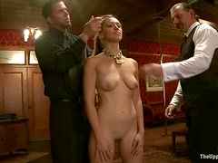 Ravishing chick Audrey Rose gets mouth-fucked in hot BDSM scene