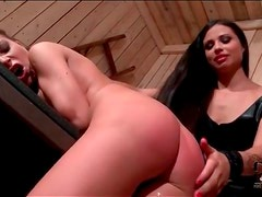 Mistress gets sub slut to suck a dick