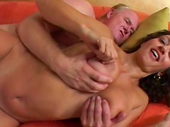 Old man is fucking with a hot brunette milf Persia Monir