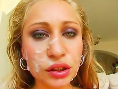Sweet blonde is getting double penetrated in hardcore way
