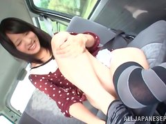Naughty Japanese honey is playing with toys