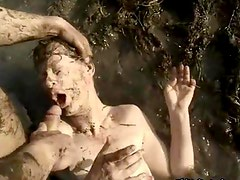 Mature housewife covered with mud
