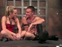 Blonde Harmony humiliates Wild Bill and gives him oral pleasure